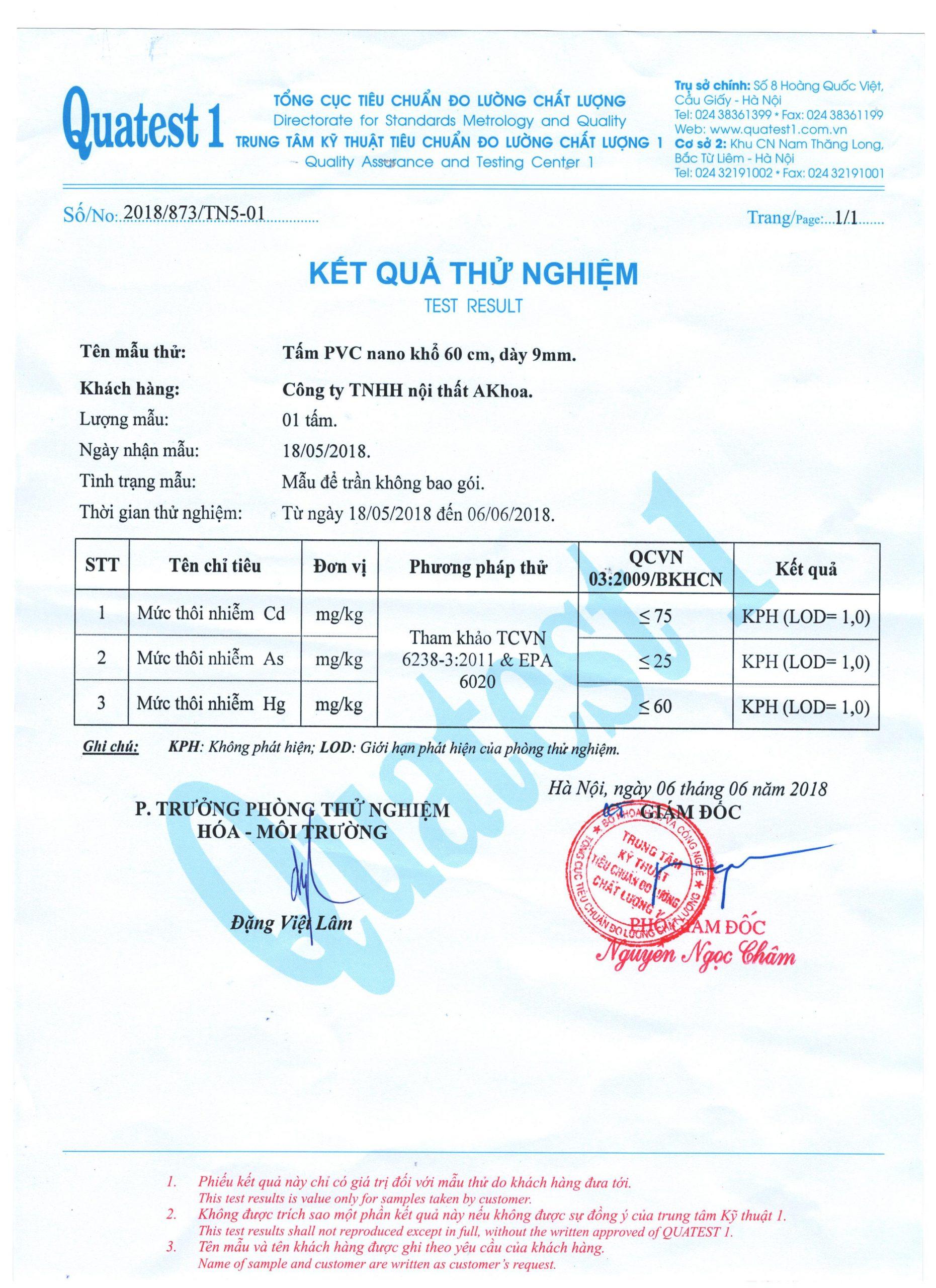 Giấy chứng nhận kiểm chứng chất lượng tấm ốp tường NaNo giúp quý khách tin tưởng