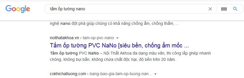 Hình ảnh trên Google khi người dùng truy tìm kiếm mua sản phẩm tấm ốp tường PVC