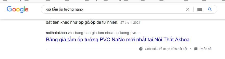 Kết quả tìm kiếm về giá tấm ốp tường PVC khi người dùng gõ đã dẫn đầu trang 1 Google